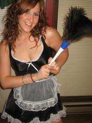 Happy Halloween from teen Ruby as she strips out of her slutty french maid costume