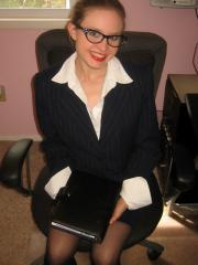 Horny secretary Shelby strips naked for her boss on her first day at her new job