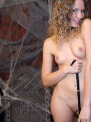 Happy Halloween from teen Shelby as she teases in a slutty chain bikini costume