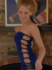 Blonde teen Lucky teases in a small blue dress