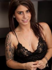 Hailey Leigh strips off her black lace top and blue panties just for you