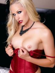 Pictures of blonde beauty Lux Kassidy ready for you in naughty red lingerie