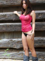Pictures of Hunter Leigh getting naked outside the cabin