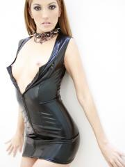 Pictures of Jenna Haze flashing in her leather dress