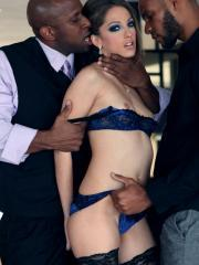 Pictures of two Jenna Haze getting gang banged by two black dudes