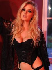 Blonde babe Jess Davies seduces you in her black lingerie