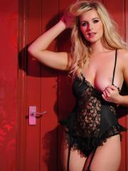 Blonde babe Jess Davies peels off her black lingerie to expose her gorgeous boobs