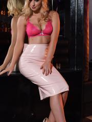 Jess Davies gives you a striptease in her pink skirt and high-heels