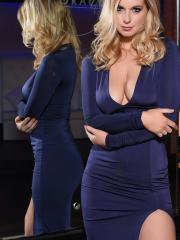 Jess Davies slips off her blue dress to reveal her incredible natural boobs