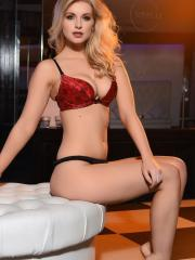 Blonde beauty Jess Davies seduces you in her red and black lingerie