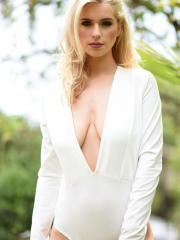 Blonde babe Jess Davies reveals her big natural boobs outside