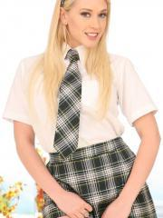 Blonde schoolgirl Kagney gets stabbed with cock and gets facial