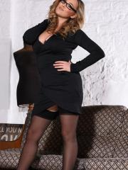 Jodie teasing in her sexy black dress and stockings