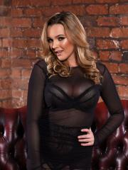 Blonde babe Jodie Gasson stripping from her sexy black lingerie