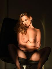 Blonde babe Jodie Gasson teasing in her black dress and lingerie