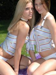 Hot teens Karen and Kate love to be out in the sun