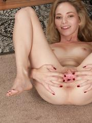 Petite coed Angel Smalls fingering her tight little pussy
