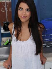 Brunette Adriana Chechik rubs ice cube over naked body