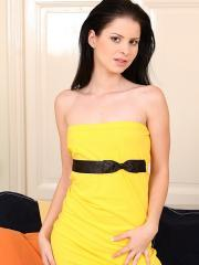 Small breasted teen Judy Smile peels off her yellow dress