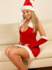Merry Christmas from Lisa as she strips out of her little Santa outfit