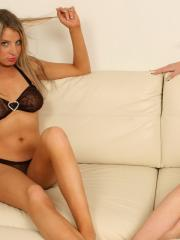 Lisa and Brooke tease each other as they slowly strip out of their black sheer bras
