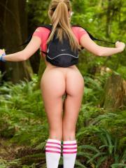 Hiking gets Katie Banks hot so she starts removing clothes