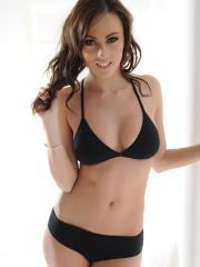 Stunning girl Lauren Wood strips her hot black lingerie