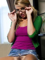 Pictures of Lexi Belle getting horny while she does her homework