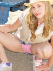 Blonde country girl Little April shows you what's up her skirt