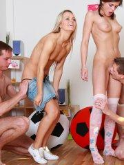 Pictures of Little Caprice in an orgy with Sabrina Blond