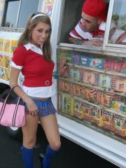 Allyssa Hall gets the bang of her life as she sucks and fucks the ice cream guy