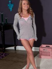 Blonde beauty Madden teases for you in Grey Thermal