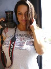 Big boobies Monica Mendez shows you her tits with her photography hobby