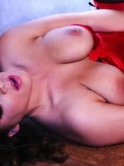 Pictures of Natasha Nice fingering her wet pussy in sexy red lingerie