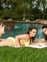 Busty hotties Natasha Nice and Alison Tyler lick and finger each other silly hanging out by the pool