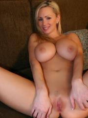 Busty blonde Naughty Allie masturbates for you on the couch