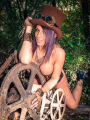 Nikki Sims does some steampunk dress-up to wish you a Happy Halloween