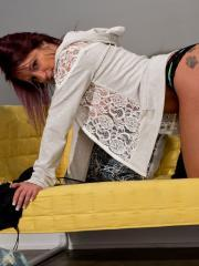 Nikki Sims strips out of her jeans and teases in her lace hoodie and black thong