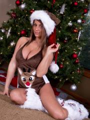 Busty babe Nikki Sims offers you her body for Christmas