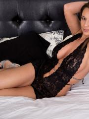"""Brunette babe Nikki Sims poses for you in """"Glass"""""""