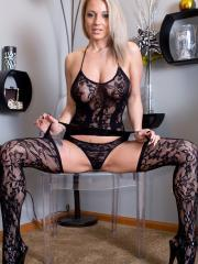 """Nikki Sims teases in """"Black Lace Body Suit"""""""