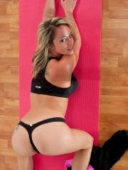 Pictures of Nikki Sims getting hot while she does yoga