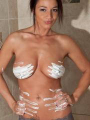 Busty hottie Nikki gets all wet and creamy for you