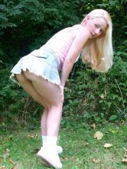 Pictures of Sexy Patty Cake showing her panties at the park