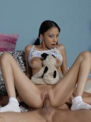 Petite latin teen Alexis Love gets fucked in her pigtails and socks