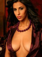 Busty pinup babe Jaime Hammer returns to pose in satin