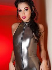 Pictures of Reanna Mae teasing in a shiny one-piece suit