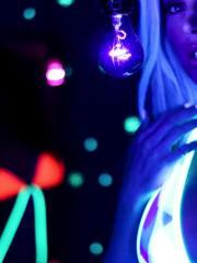 Samantha Saint goes all artsy fartsy with a black light
