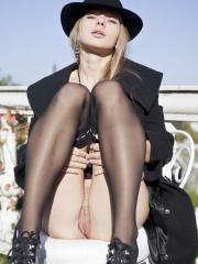 Milena D flashes her hot pussy for you outside in public
