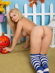Busty teen Kylie strips for you in Autumn Rhapsody